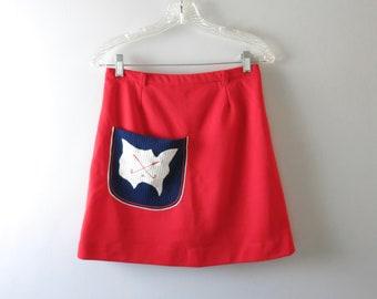 70s Red Tennis Skirt - 60s 70s Vintage Tennis Skort