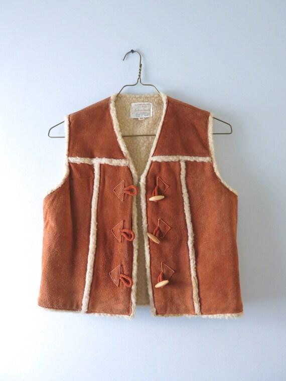 Vintage 70s Suede Vest M   1970s Brown Suede Cowh… - image 2