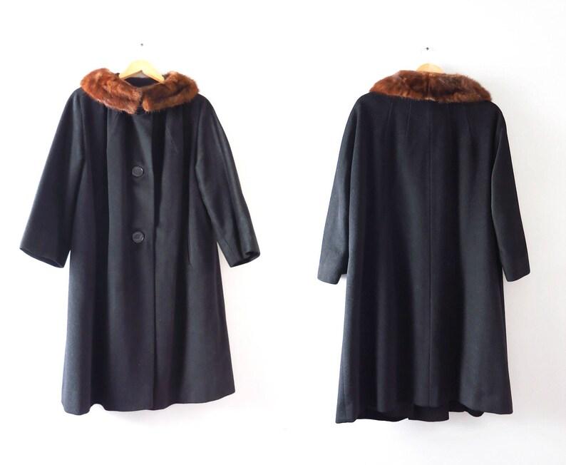 Vintage 60s Black Coat L  1960s Black Wool Coat Mink Trim image 0
