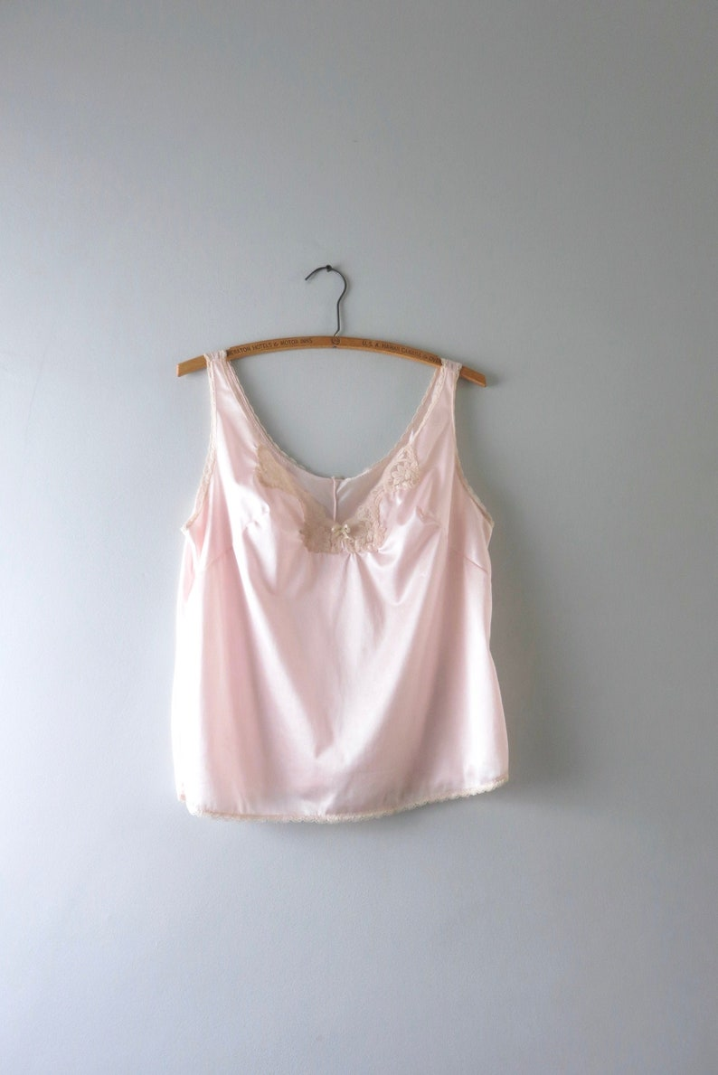 Vintage Pink Camisole L  1980s Pale Pink Nylon Camisole Cami image 0