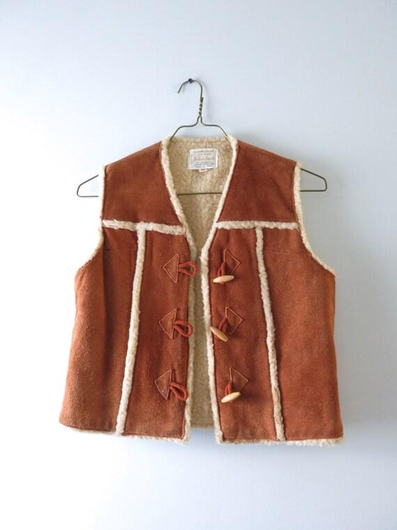 Vintage 70s Suede Vest M   1970s Brown Suede Cowh… - image 8