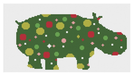 Hippo For Christmas.I Want A Hippopotamus For Christmas Hippo Silhouette Xmas Christmas Hoopla Modern Cross Stitch Pdf Chart Pattern Instant Download