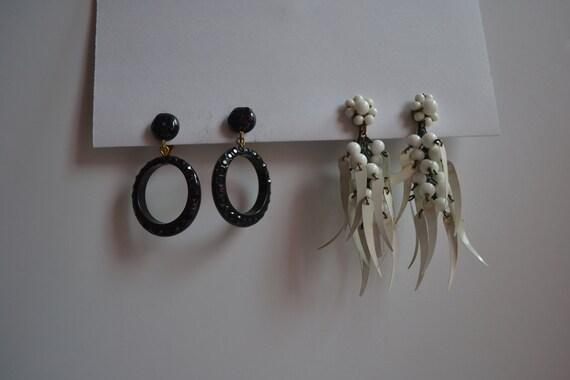 2 Pair of Vintage, 50s, Dangle Earrings, Black Dan