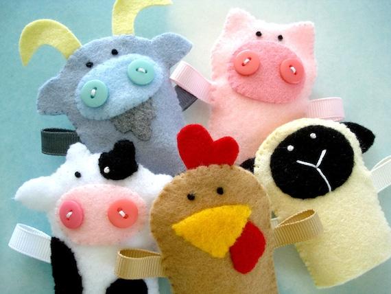 Farm Animal Felt Finger Puppets Sewing Pattern Pdf Epattern Etsy