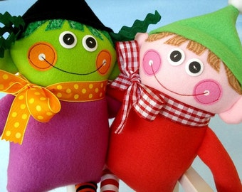 Christmas Toy Sewing Pattern - Halloween Toy Sewing Pattern - Wendy Witch and Ethan Elf - PDF e-pattern