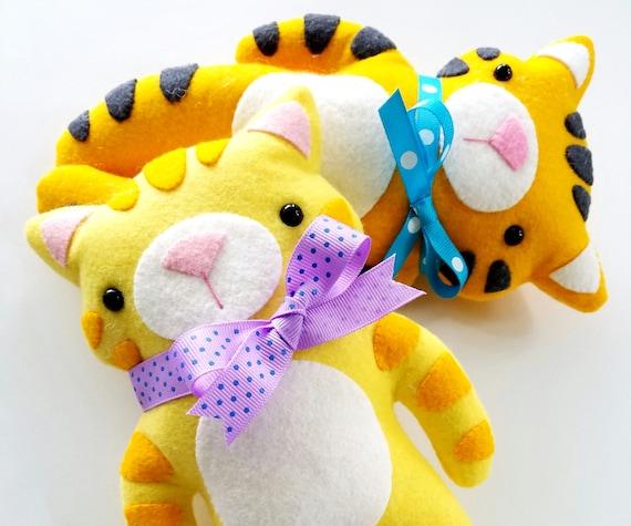 Felt Kitty Tiger Felt Animal Softies Sewing Pattern Etsy