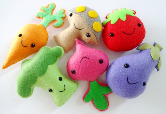 Felt Veggie Softies Sewing Pattern Toy Tutorial PDF e | Etsy