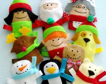 Felt Christmas Sewing Pattern - Felt Christmas Finger Puppets Sewing Pattern - PDF ePATTERN
