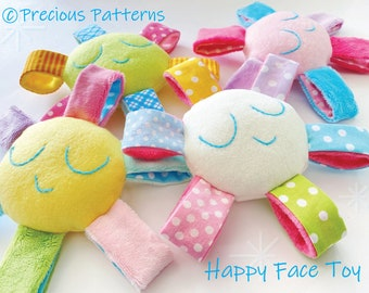 Happy Face Toy Sewing Pattern PDF Soft Fleece Minky Tutorial e pattern for Baby - Babies Girls & Boys children kids - PDF e pattern softie