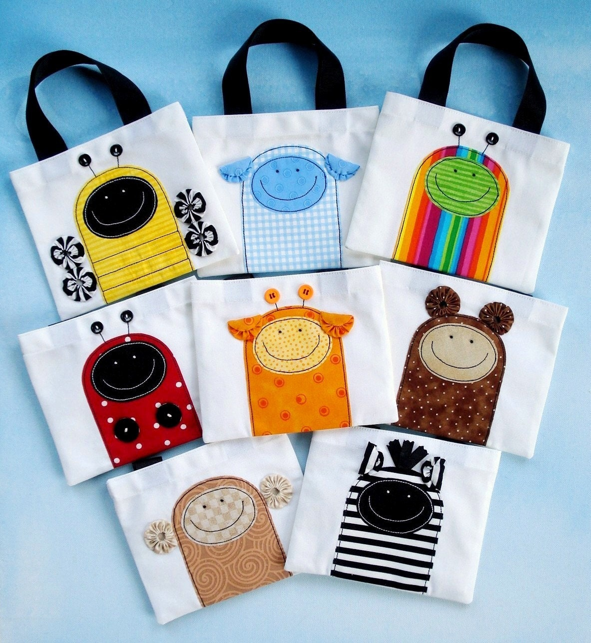 Sewing Pattern Mini Tote Bags With Critter Appliques Etsy