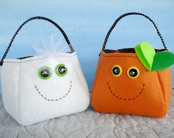 Toy Sewing Pattern for Ghost, Spider and Pumpkin Treat Bags - PDF ePATTERN Halloween Treat Bag