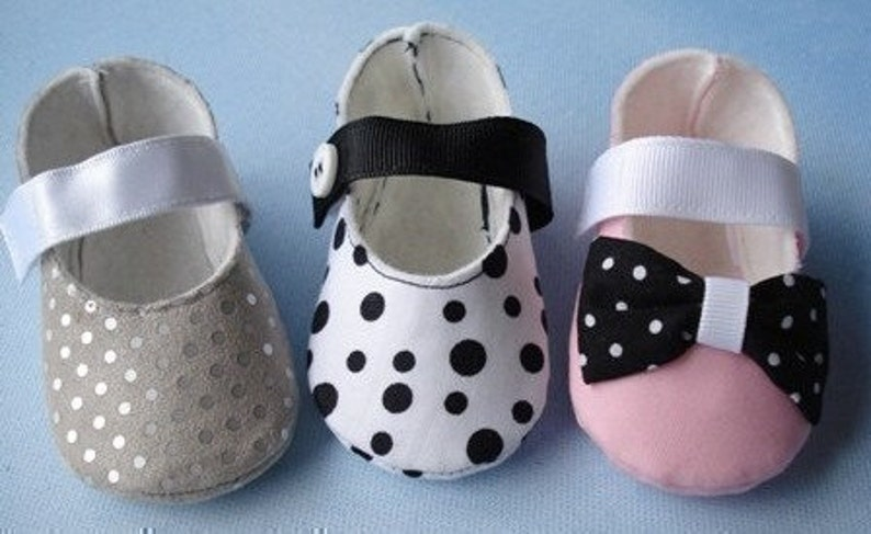 d1a37135e8171 Mary Jane Baby Shoes Sewing Pattern with Ribbon Strap and Hook and Loop  Fastener Closure - PDF ePattern