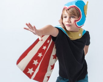 Super Hero Reversible Cape, kids birthday gift, dress up boys, Thor, The Avengers, Super Power, Play, Stars and Stripes, kids costume play