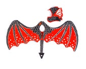 Red Dragon Costume, Dragon Dress Up, GOT, Game of Thrones, Harry Potter, Dungeons and Dragons, Dragon Wings, Kids Dress Up, Kids Costume