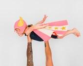 Super Hero Costume in Pink, Fly Girl Costume, Flying Super Hero, Superhero Cape, Winged Hat, Gift for Strong Girl