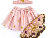 Butterfly Fairy Gift Set, Wings, Tiara + Skirt, Faerie Wings, Toddler Birthday Gift, Pink Moth Wings and Tutu, Girls Dress Up, Pink Outfit
