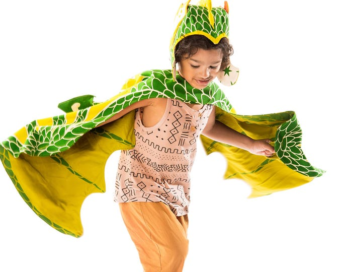 Green Dragon Costume for Kids, Hat and Wings Costume