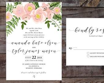 Vintage Invitations, invitation templates, Floral Wedding Invitations, Vintage Wedding Invitations, DIY Wedding Invitations, Watercolor