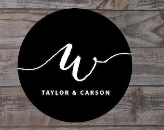 Initial monogram sticker, monogram label, envelope sticker, favor labels  Wedding Candy Stickers, Candy Labels, Wedding Sticker