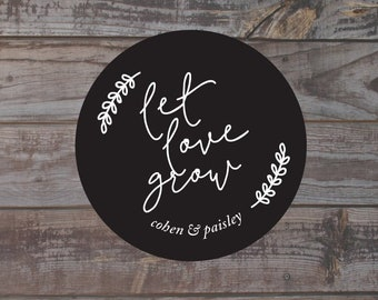 Let love grow sticker, wedding favor stickers, seed packet sticker, personalized wedding stickers, wedding favor labels, flower seed label