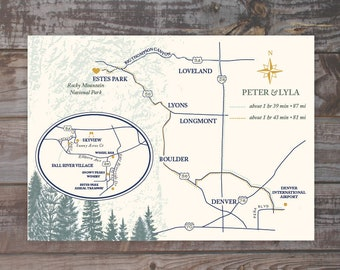 Map, hand drawn map, wedding map, wedding invitation map, event map, Estes Park, Colorado map, mountains