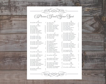 Formal alphabetized wedding seating chart, guest seating chart, please find your seat, table seating assignments, wedding reception signage