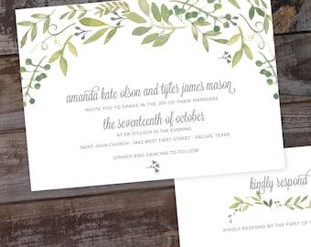 Floral wedding invitations, watercolor wedding invitations, formal wedding invitations, garden wedding invitations, vintage wedding invites