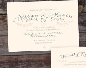 Calligraphy wedding invitations, vintage wedding invitations, rustic wedding invitations, formal wedding invitation, timeless wedding invite