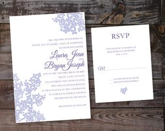 Purple wedding invitations, lilac wedding invitations, formal wedding invitations, elegant wedding invitations, timeless wedding invitations