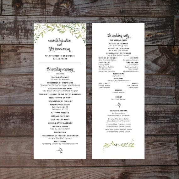 floral wedding program wedding ceremony programs printable etsy