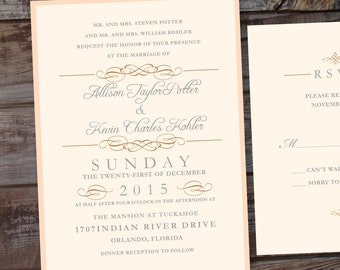 Wedding invitation, gold wedding invitations, formal wedding invitations, timeless wedding invitations, classic wedding invites, blush