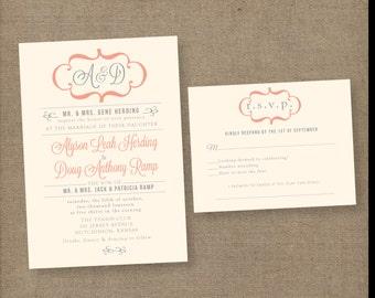 Modern wedding invitations, vintage wedding invitations, monogram wedding invitation, coral wedding invitation, calligraphy wedding invite