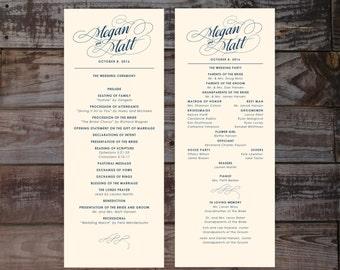 Printed wedding programs, wedding ceremony programs, formal wedding program, wedding programs, elegant wedding programs, calligraphy program