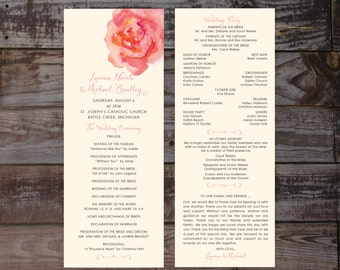 Printed wedding programs, floral wedding programs, wedding ceremony programs, formal wedding programs, vintage wedding programs, elegant