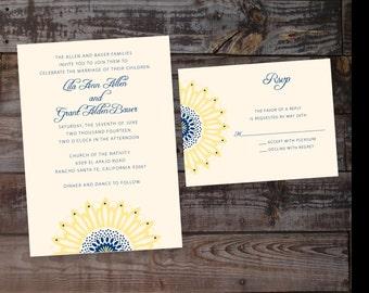 Sunflower Wedding Invitation, rustic wedding invitation, country wedding invitation, elegant wedding invitation, navy wedding invitations
