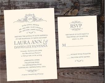 Monogram wedding invitation, vintage wedding invitation, elegant wedding invitations, formal wedding invitations, Luxury Wedding Invitations