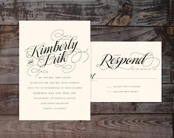Modern wedding invitation, timeless wedding invitation, classic wedding invitations, calligraphy wedding invitations, formal wedding invites