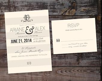 Wedding Invitation, vintage wedding invitation, printable wedding invitation, wedding invitation template, monogram wedding invitation