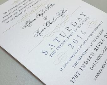 Elegant wedding invitations, formal wedding invitations, gold wedding invitations, printed wedding invitations, timeless wedding invitations