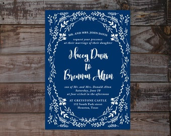 Vintage wedding invite, vintage wedding invitations, floral wedding invitations, wedding invitations, navy wedding invitation, calligraphy