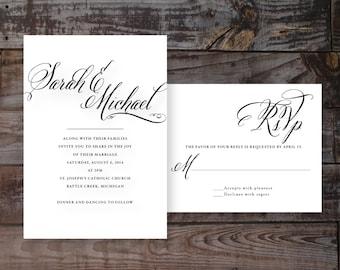 Elegant wedding invitations, formal wedding invites, timeless wedding invitations, calligraphy wedding invitations, black and white wedding