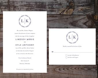 Monogram wedding invitations, printed wedding invitations, formal wedding invitations, elegant wedding invitations, timeless wedding invites