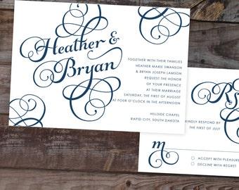 Calligraphy wedding invitations, navy wedding invitations, classic wedding invitations, elegant wedding invitation, formal wedding invites