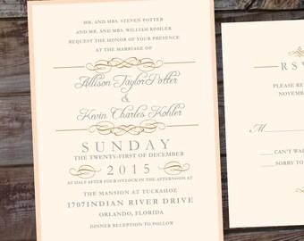 Vintage Wedding Invitation, Unique Wedding Invites, Elegant wedding invitation, gold wedding invitation, blush wedding invitations, Formal
