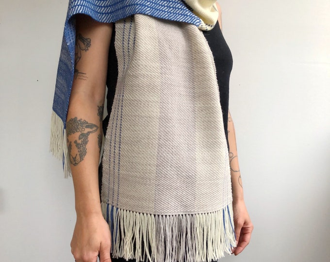 Ash/Natural/Cobalt Wool Scarf (longer version)