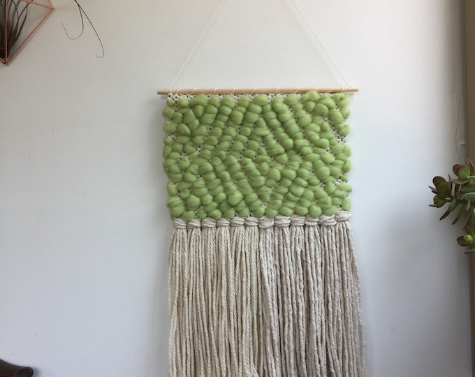 Green Wooly Woven Wall Hanging
