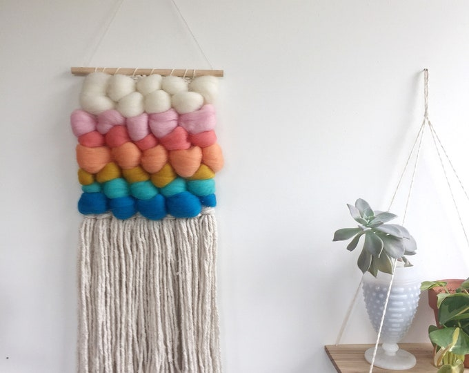 Bright Wooly Woven Wall Hanging
