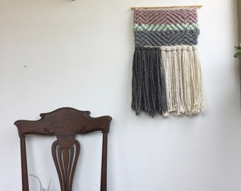 Lavender/Mint/Gry Wooly Woven Wall Hanging