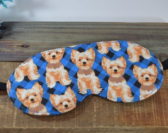 Yorkshire Terrier Sleep Mask, Dog Lover Novelty Slumber Party Favor, Adjustable Comfortable Cotton Yorkie Sleep Eye Cover, Small Puppy Love