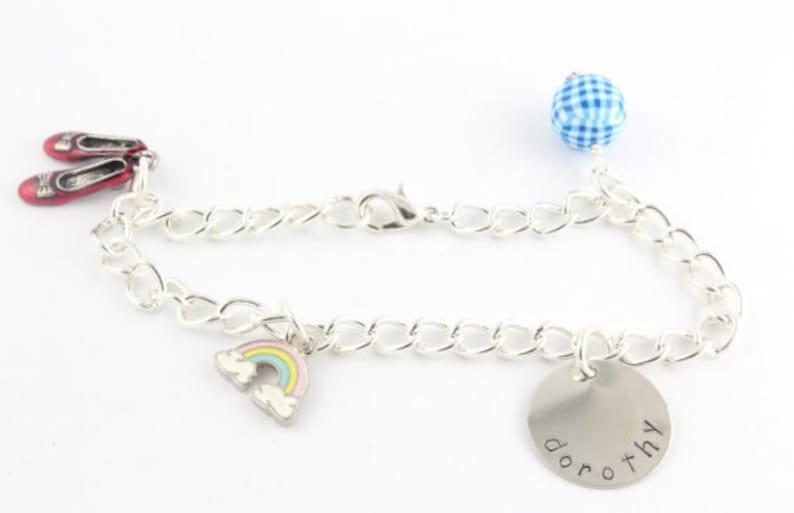 Witch Dorothy Rainbow Scarecrow Wizard of Oz Personalized Charm Bracelet for Children Tin Man Lion